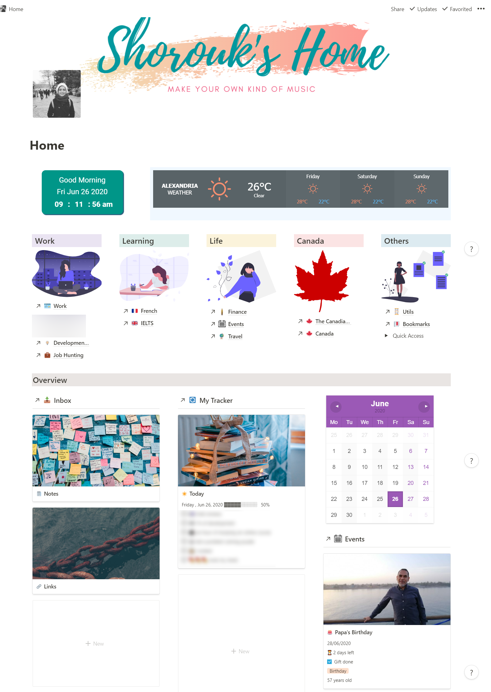 notion home page widget