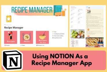 a screenshot of a Notion recipe template