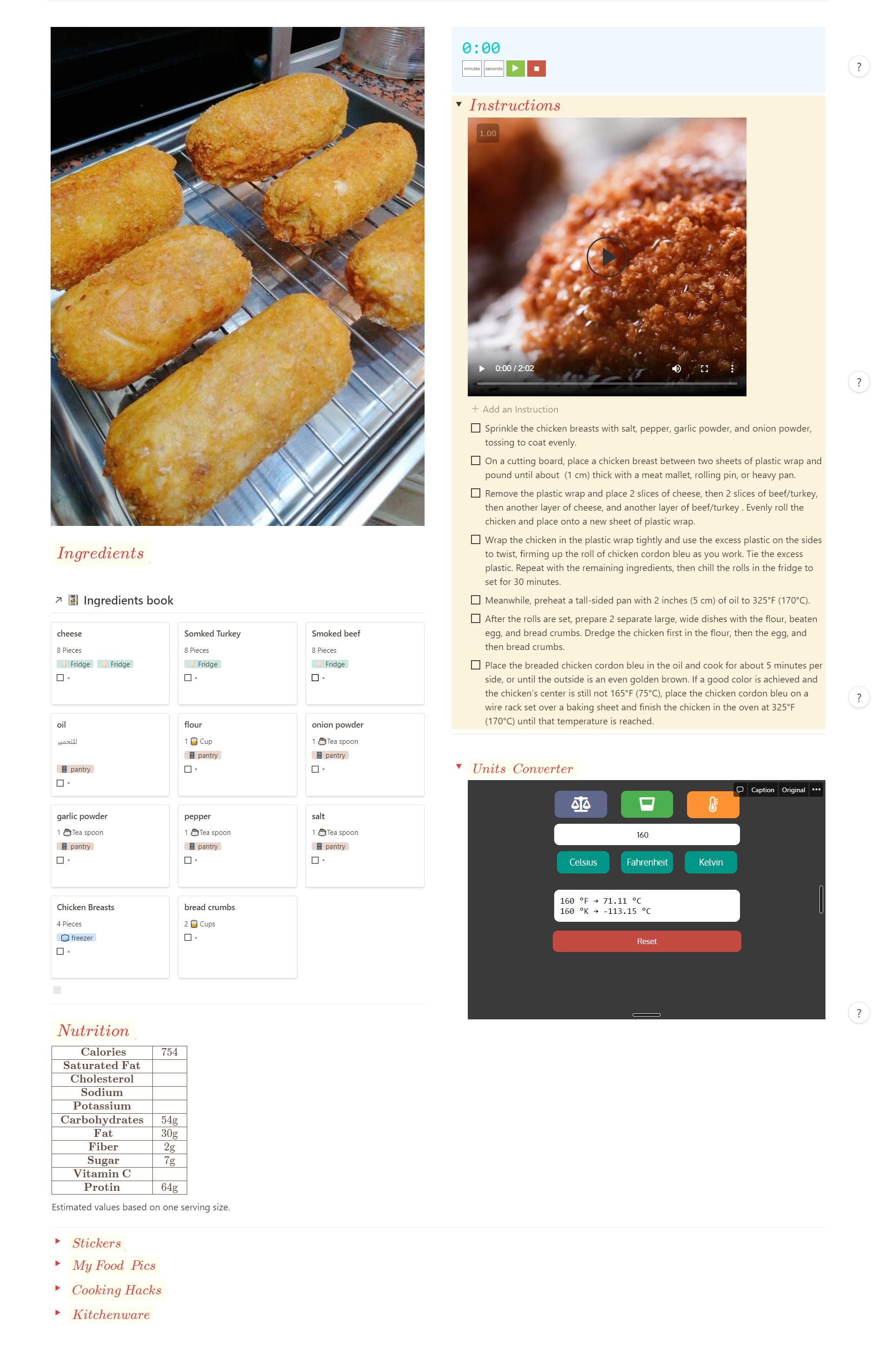 Notion recipe template unit converter widget
